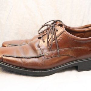 ECCO Brown Leather Lace Up Loafers Size 44